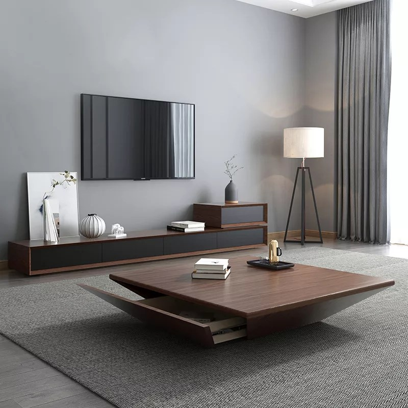 nordic style big square solid wood walnut tea coffee table high gloss big round wooden tea table living room table furniture buy fashion living room