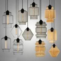 Amber Glass Pendant Lamp Modern Chandelier Home Decoration ...
