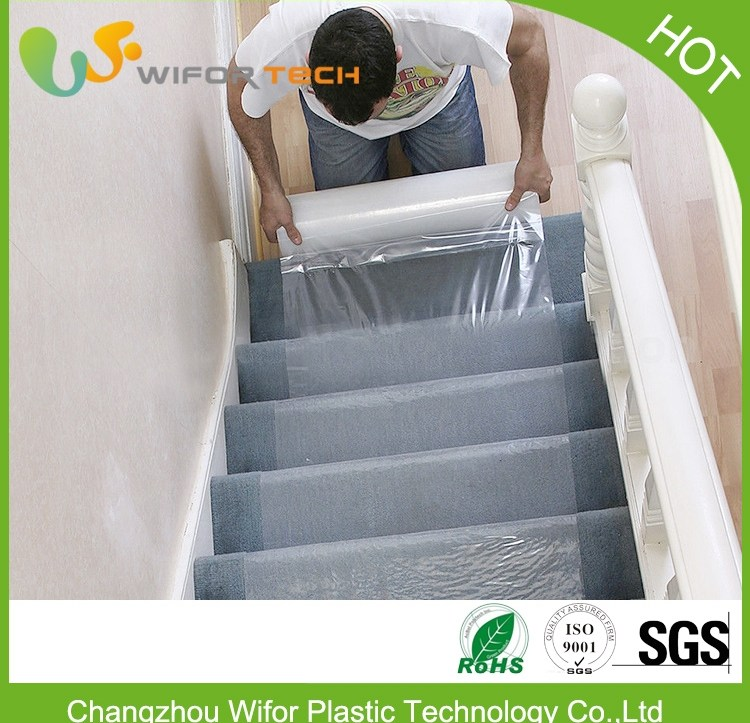 Free Sample Temporary Self Adhesive Pe Plastic Carpet Protector | Temporary Carpet For Stairs | Non Slip | Stair Treads | Tile | Protection | Plastic