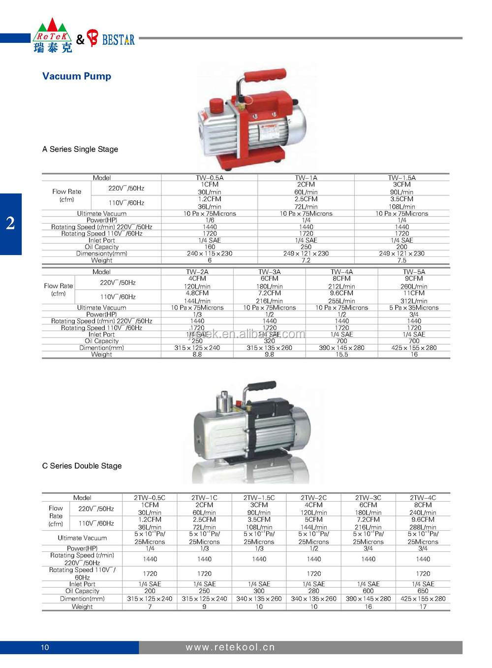 High Speed Mini Rotary Vacuum Pump For Refrigeration Parts