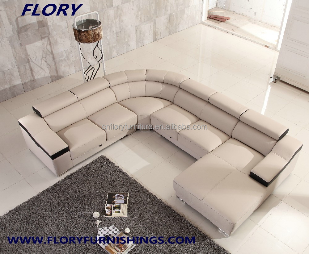 sectional sofa u shaped best material for toddlers modern shape with extensible seat and head rest