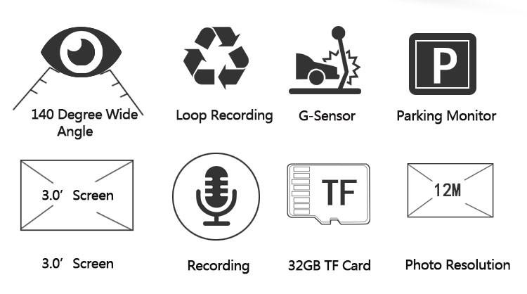 Sony 323 Sensor Video Recorder Ntk96658 Car Dash Cam Car