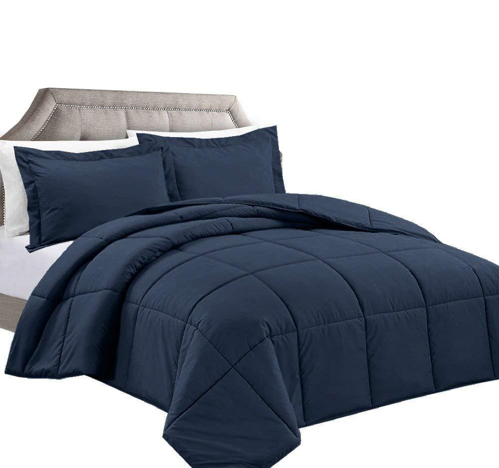 piece queen navy blue comforter set