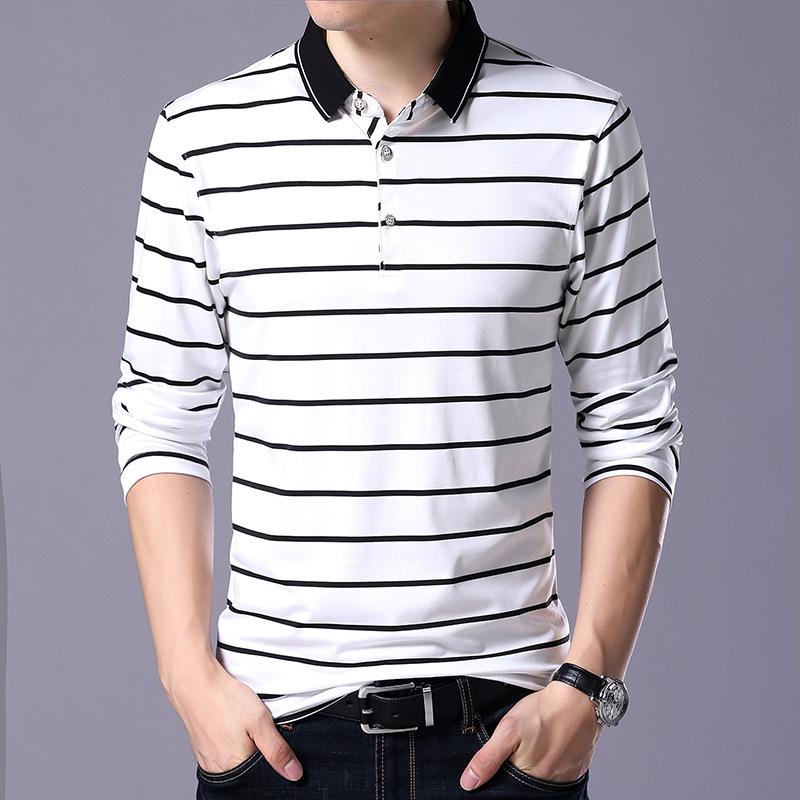 dad1d4ec44b Liseaven ropa de hombre camisetas Polo de manga larga Polos de rayas Polos  de hombre Tops y camisetas de algodón de marca