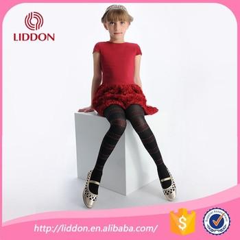Girls Dress Wearing Black Tights Silk Stockings Strip Pattern Printed Silk Stockings Pantyhose