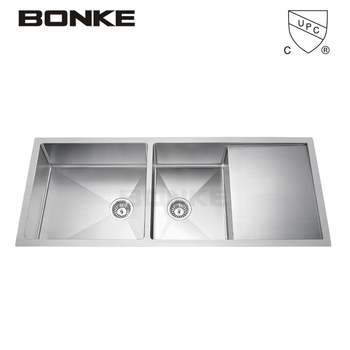 kitchen sink capacity gas stoves 48 stainless steel large handmade double bowl 16 gauge quot thickness with drainboard
