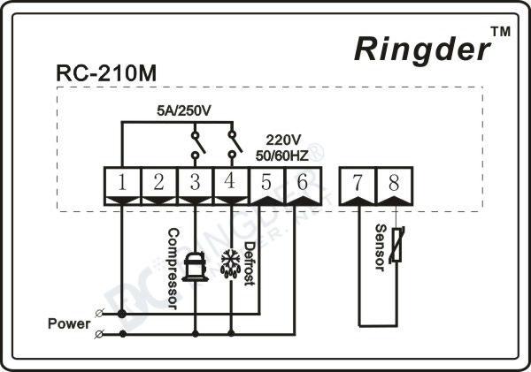 RINGDER RC-210M Digital Defrost Refrigerator Thermostat