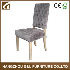 High Back Grey Velvet Dining Chairs Tobias Chair Clear Chrome Plated French Style Fabric Button Cover Design Solid Wood