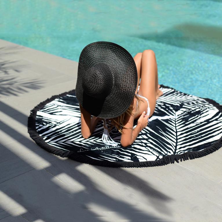 custom design durable round beach towel 100% microfiber with tassel fring