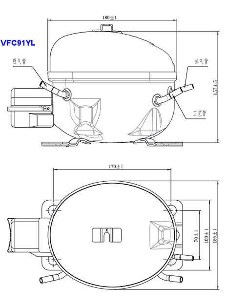 Vfc91yl Lbp 220v-240v 50hz Displacement 8.8cm3 R600a