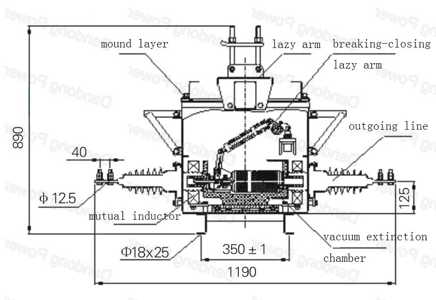 Zw20-12/t630-25 Type Automatic Switch 33kv Vacuum Circuit