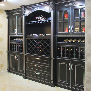 solid wood kitchen sets premade island black wine cabinet red color plywood door with a dining table