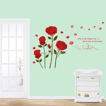 y rose decals flowers plant wall decals room decor wall art