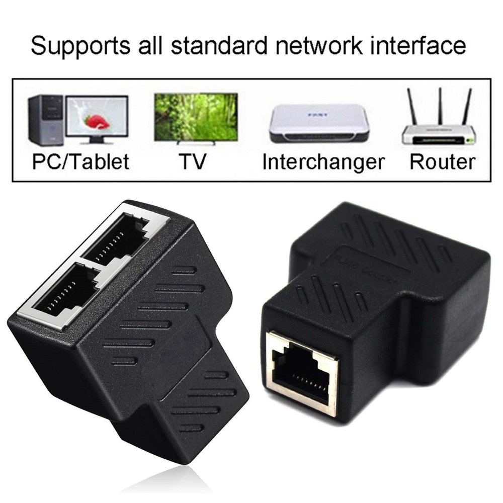 medium resolution of get quotations 2 pack rj45 splitter connectors traderplus rj45 splitter adapter 1 to 2 dual female port