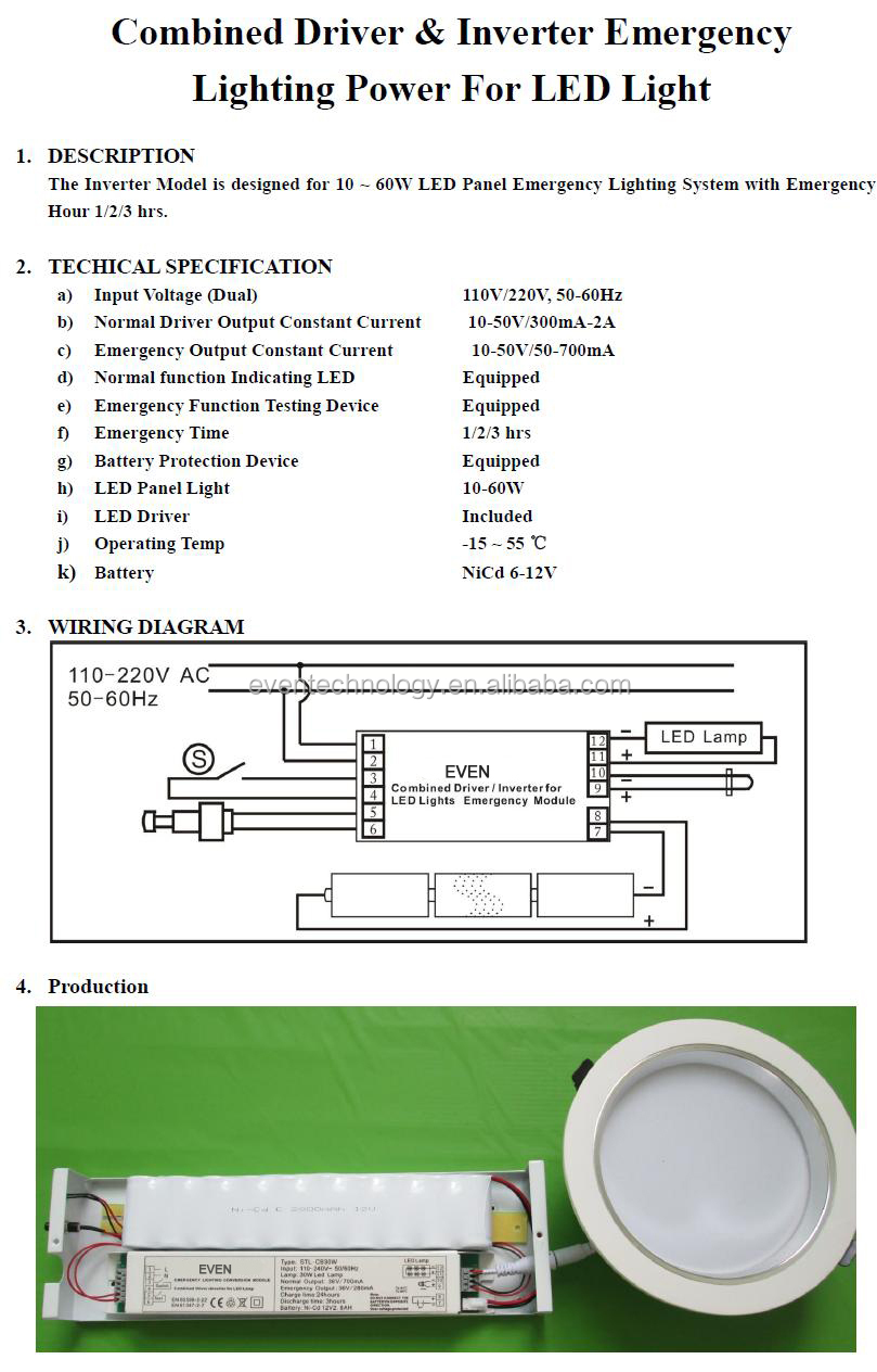 hight resolution of led emergency light with ni cd batteries pack