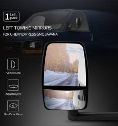get quotations left towing mirror fits 2003 2017 chevy express gmc savana side view tow mirror [ 1000 x 1000 Pixel ]