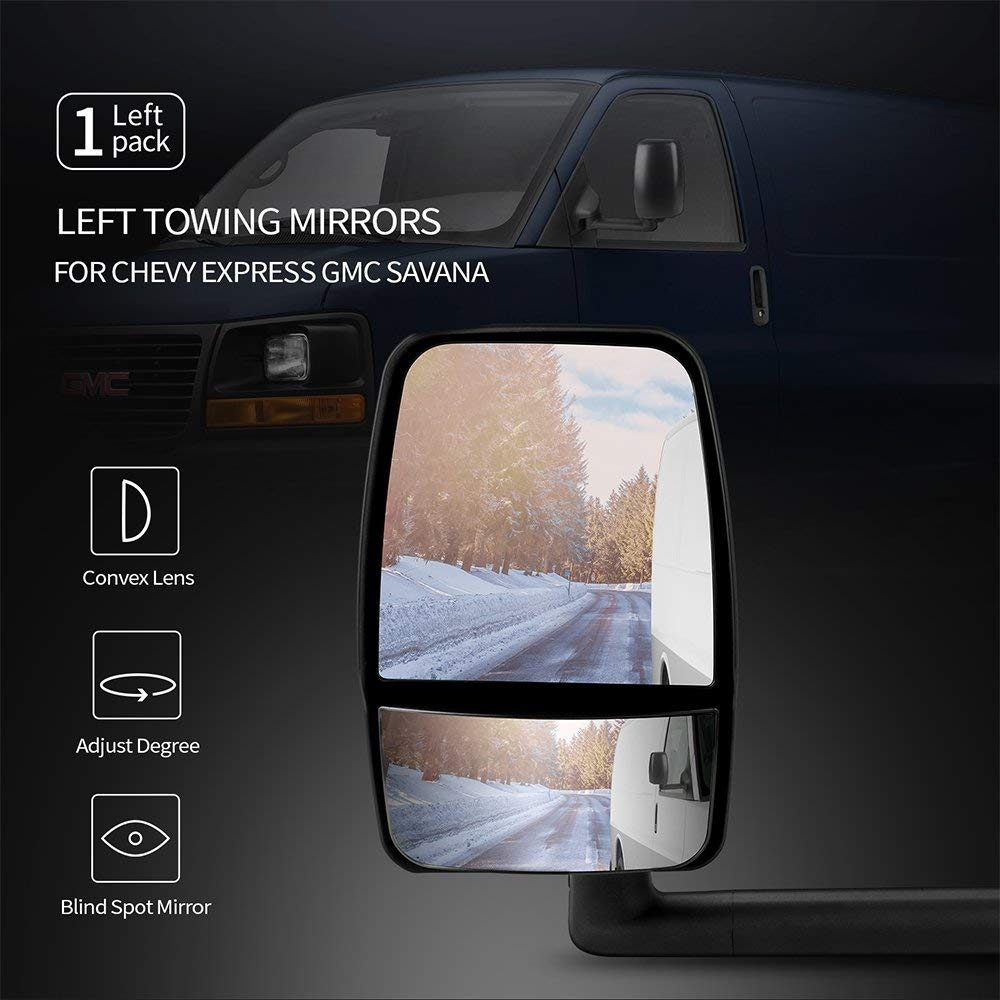 medium resolution of get quotations left towing mirror fits 2003 2017 chevy express gmc savana side view tow mirror
