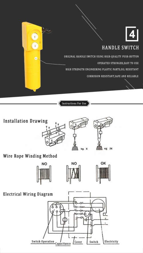 small resolution of small wire rope hoist 110 120 220 230 volt 120v electric winch 110 electric hoist wiring diagram power cord