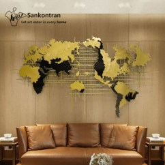 Metal Wall Art Decor For Living Room Extension Pictures Handmade 3d Large Decal World Map Home