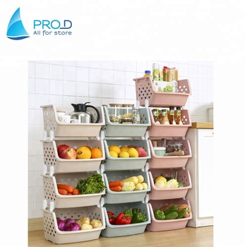 kitchen storage racks scrubbers wholesale stackable fruit and vegetable rack plastic shelf