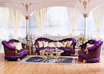 purple living room furniture sofas accessories 2018 luxury baroque style sofa set european classic wood carving button tufted