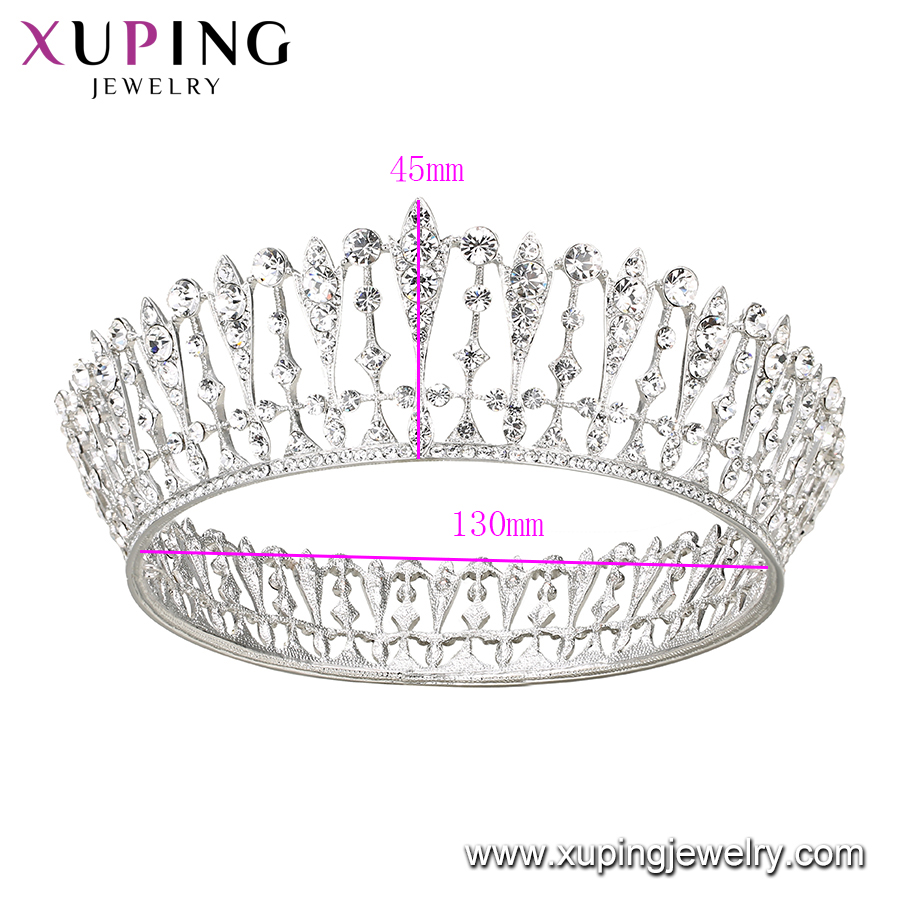 00336 Xuping 999 Silver Color Tall Pageant Tiara Crown
