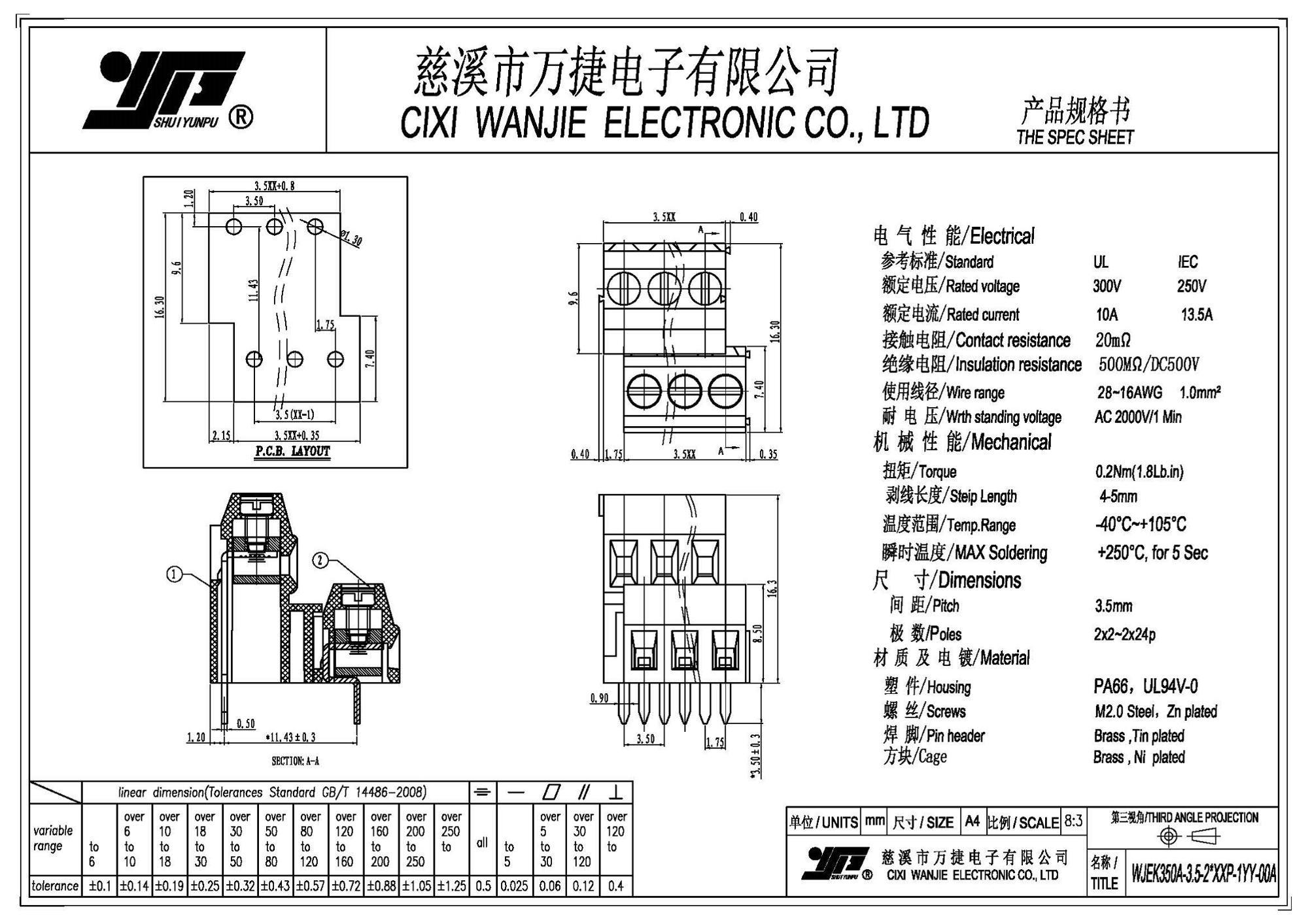 Euro Type Screw Plug-in Type Pcb Terminal Block/wire
