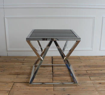 diamond shiny stainless steel frame with black tempered glass top side table buy diamond table black glass table side table product on alibaba com