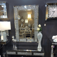 Rectangle Framed Crushed Diamond Fancy Wall Mirror - Buy ...