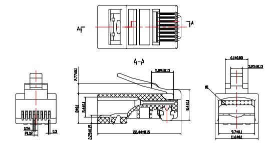 Rj45 Crystal Plug Cat5e Cat6 Keystone Module Plug Shield