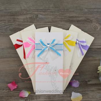 Diy Handmade Elegant Pocket Envelope Design Wedding Invitation With Ribbon