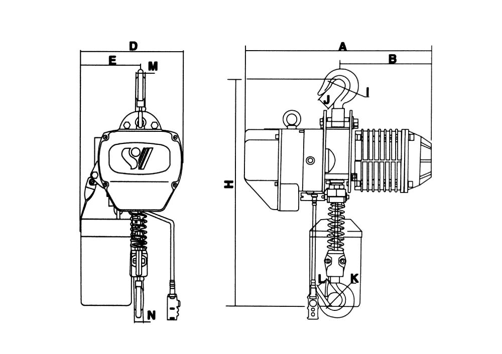 Stationary Type Electric Chain Hoist For 500kg 0.5ton