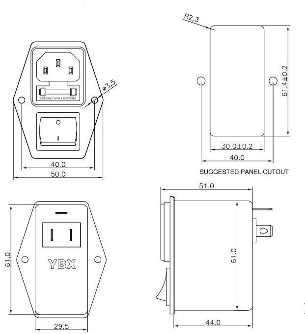 Ac Socket Emi Line Noise Filter 2 Fuse Inlet Filter,1-10a