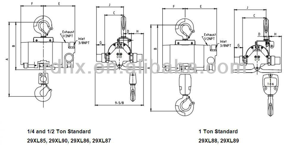 1/2T AIR CHAIN HOIST,OEM FOR DAYTON Pneumatic HOIST for