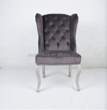 high back grey velvet dining chairs wedding ribbon hot sale silver nails chair norway antique wooden wing