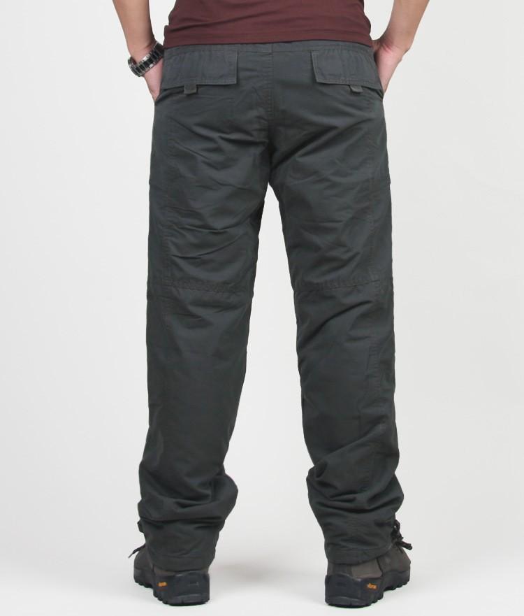 Men's Cargo Pants 2019 Winter Casual Warm Thicken Fleece Pants Men Cotton Multi Pockets Combat Military Baggy Tactical Pants 43