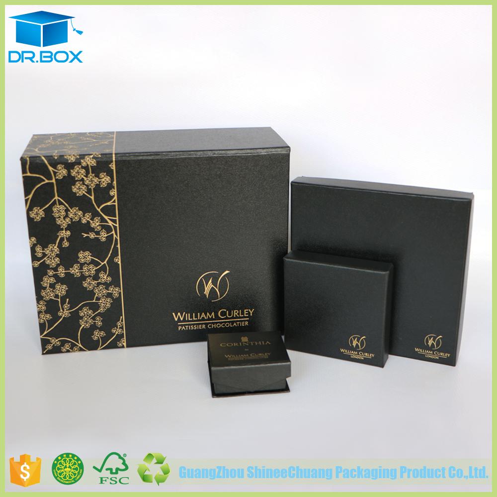 High End Black Special Paper Dubai Chocolate Gift Box