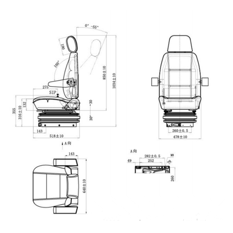 Universal Comfortable Suspension Truck / Excavator / Bus