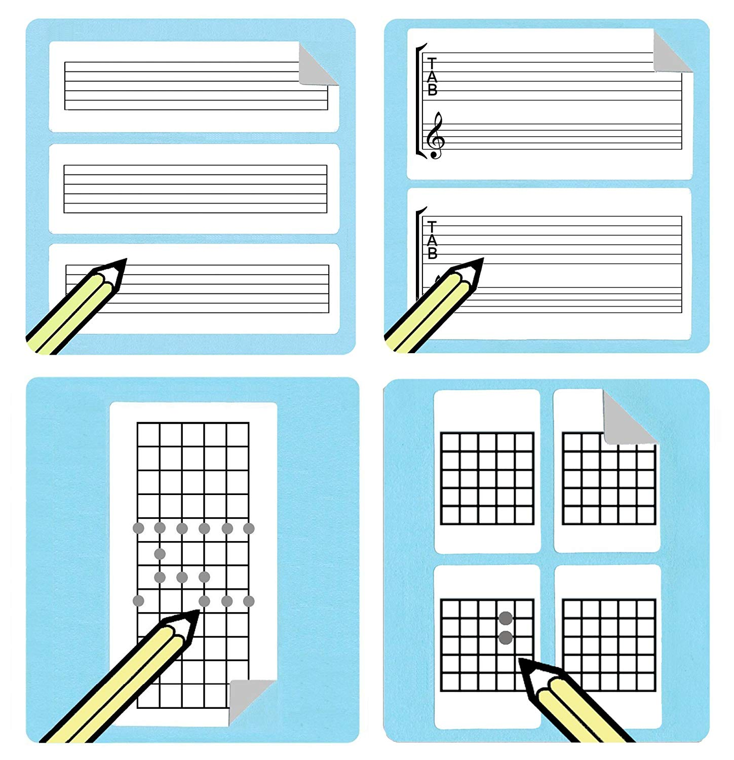 hight resolution of guitar teacher and student chord tablature fretboard diagram stickers gift pack