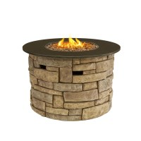 Outdoor Gas Fire Pits Fibreglass Rock Stone Finish Large ...