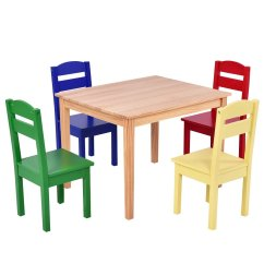 Children Table And Chairs Kids Foam Cheap Chair Find Deals On Line Get Quotations Ayamastro Set Of 5 Pcs Rectangle Pine Wood Multicolor Play Room