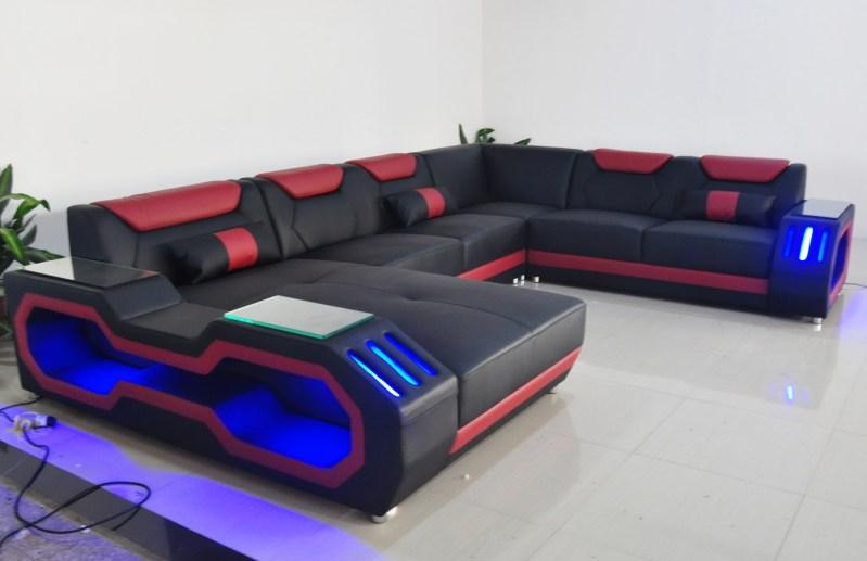 HTB1r8Asa7H0gK0jSZPiq6yvapXab Custom made modern design LED lights Music player living room sofa set leather sofa