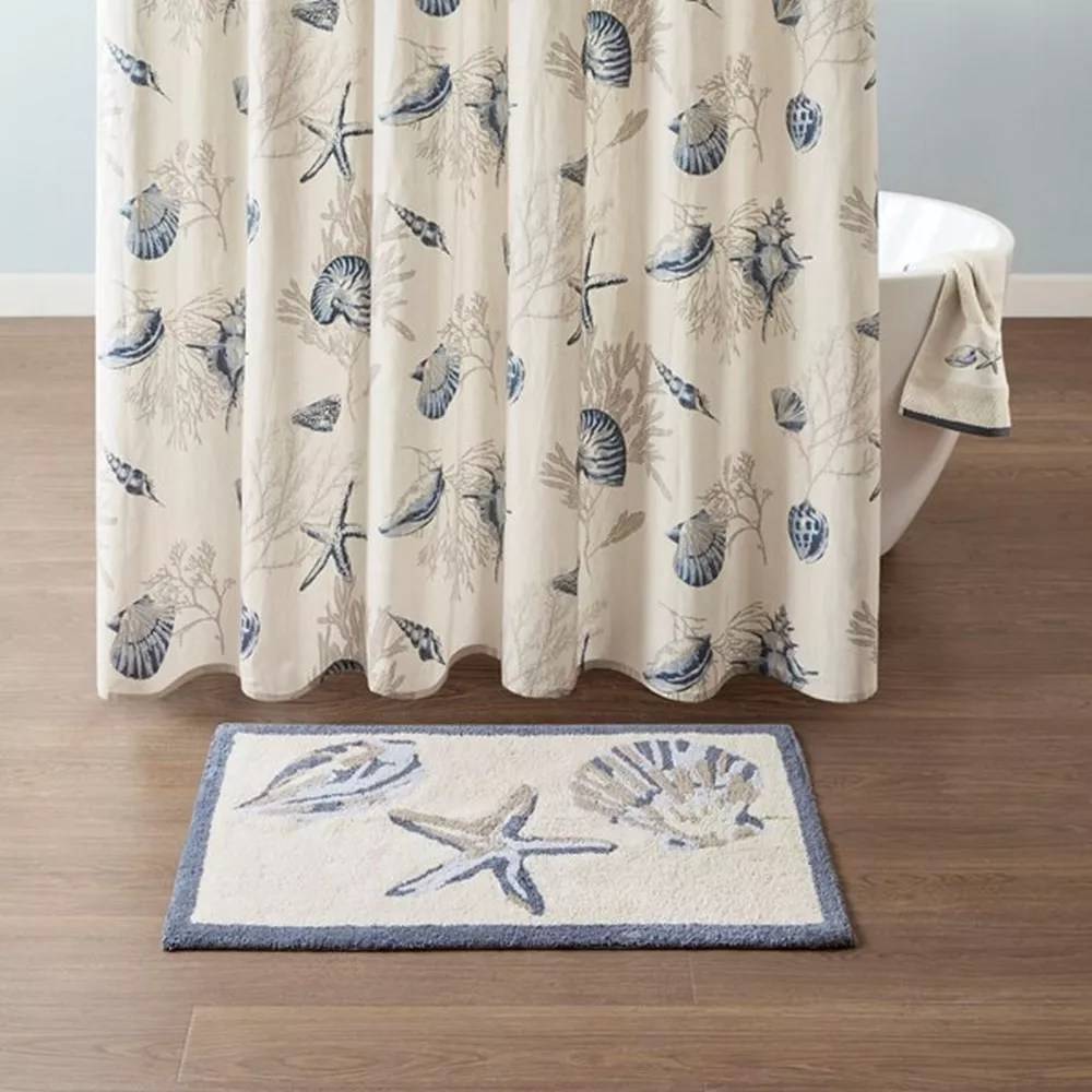 new products anti slip microfiber shaggy soft modern coastal beach theme design bathroom bath rug shower curtain set buy bath rug shower curtain