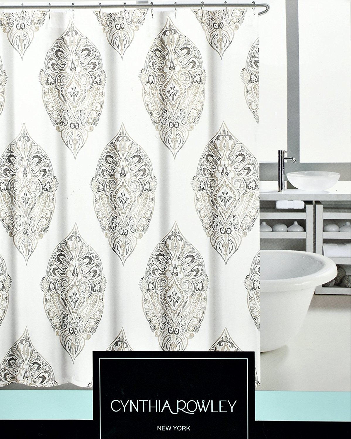 Buy Bohemian Style Block Print Shower Curtain By Cynthia Rowley Moroccan Marrakech Damask Paisley Tile Pattern In Teal Blue Or Beige Tan On White Cotton Fabric Beige In Cheap Price On Alibaba Com
