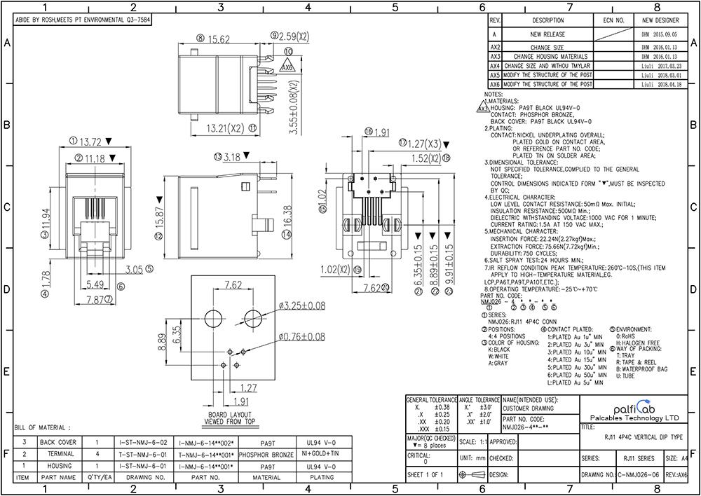 Best Quality Single Port Rj11 Modular 4p4c Female Dip Type