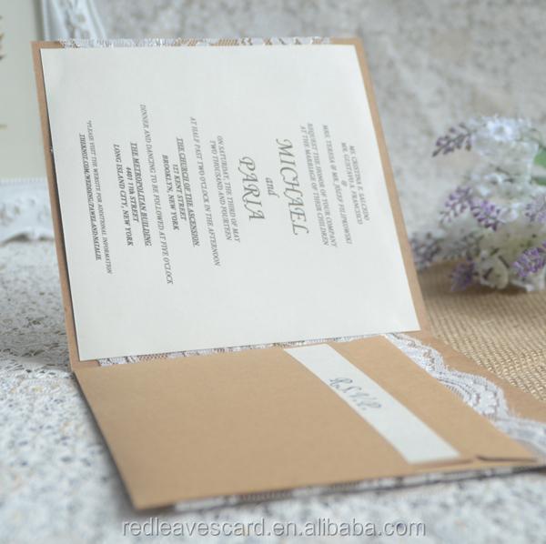 Luxury Pocket Fold Wedding Invitations Cards With Envelope