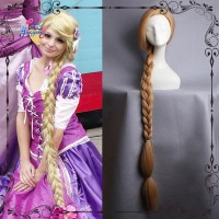 Rubia larga trenza de pelo Tangled Rapunzel Cosplay peluca ...