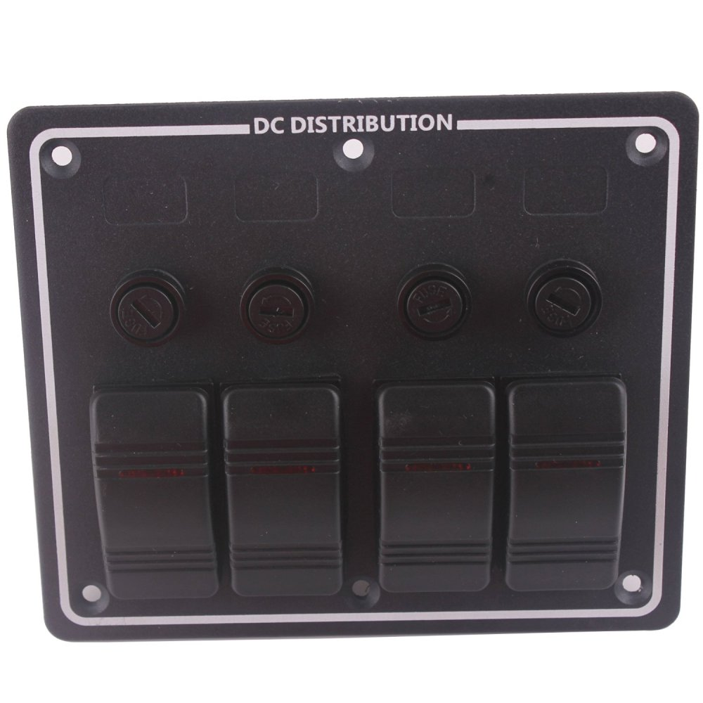 medium resolution of black 4 gang dc 12v led boat rocker switch panel circuit breaker with auto fuses vertically