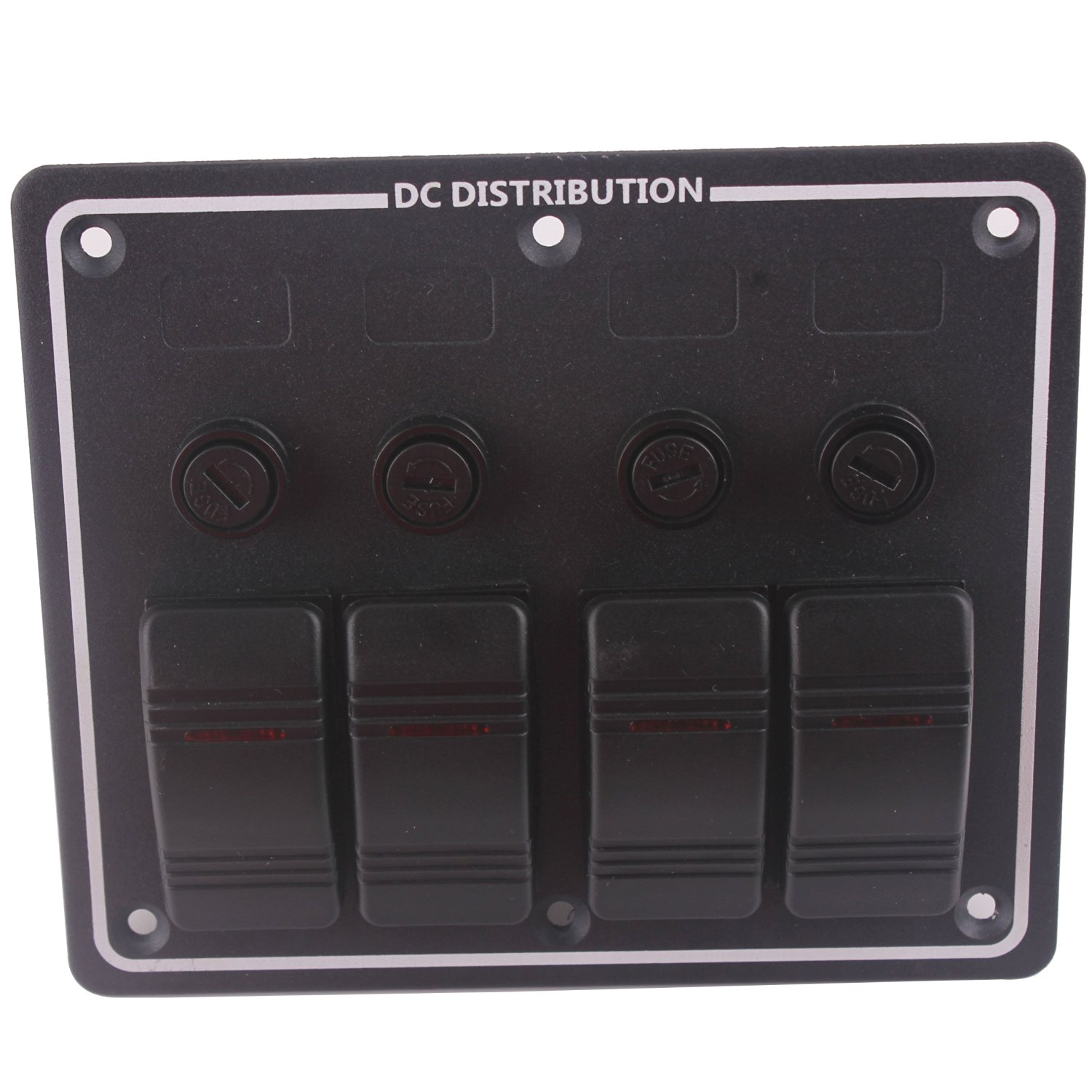 hight resolution of black 4 gang dc 12v led boat rocker switch panel circuit breaker with auto fuses vertically