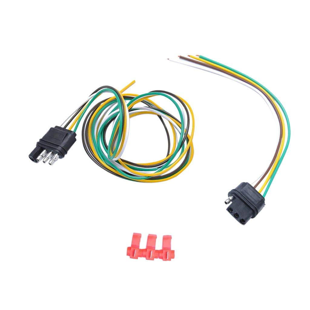 hight resolution of get quotations magideal 1 pair 4 way round trailer plug socket connector light wiring harness